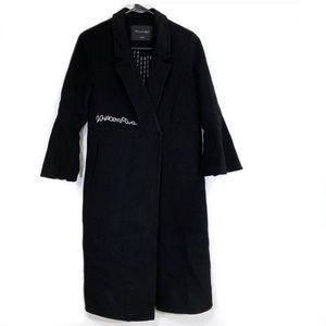 Freeda Black Wool Jacket w/White Embroidery Detail